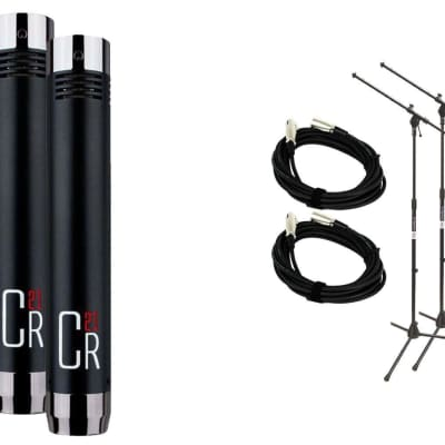 MXL CR21 Microphone Stereo Pair Bundle with 2 20-foot XLR Cables & Stands