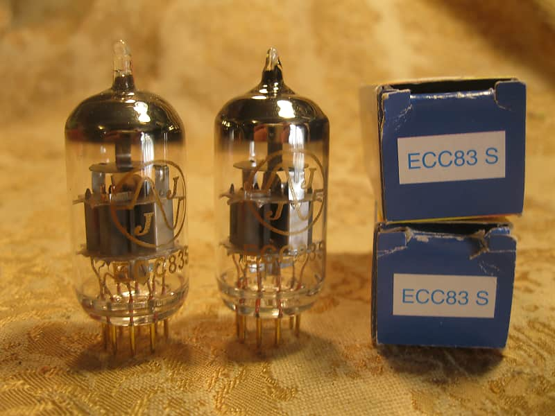 NEW - Matched PAIR JJ Tesla ECC83S 12AX7 ECC83 preamp tube GOLD PINS!!!  TESTED
