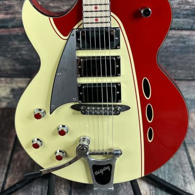 Used Backlund Left Handed Rockerbox DLX Semi Hollow Electric Guitar with Bigsby and Case for sale