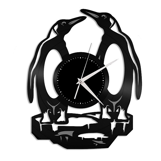 penguins wall clock black white vinylshopus reverb Master Room penguins wall clock black white
