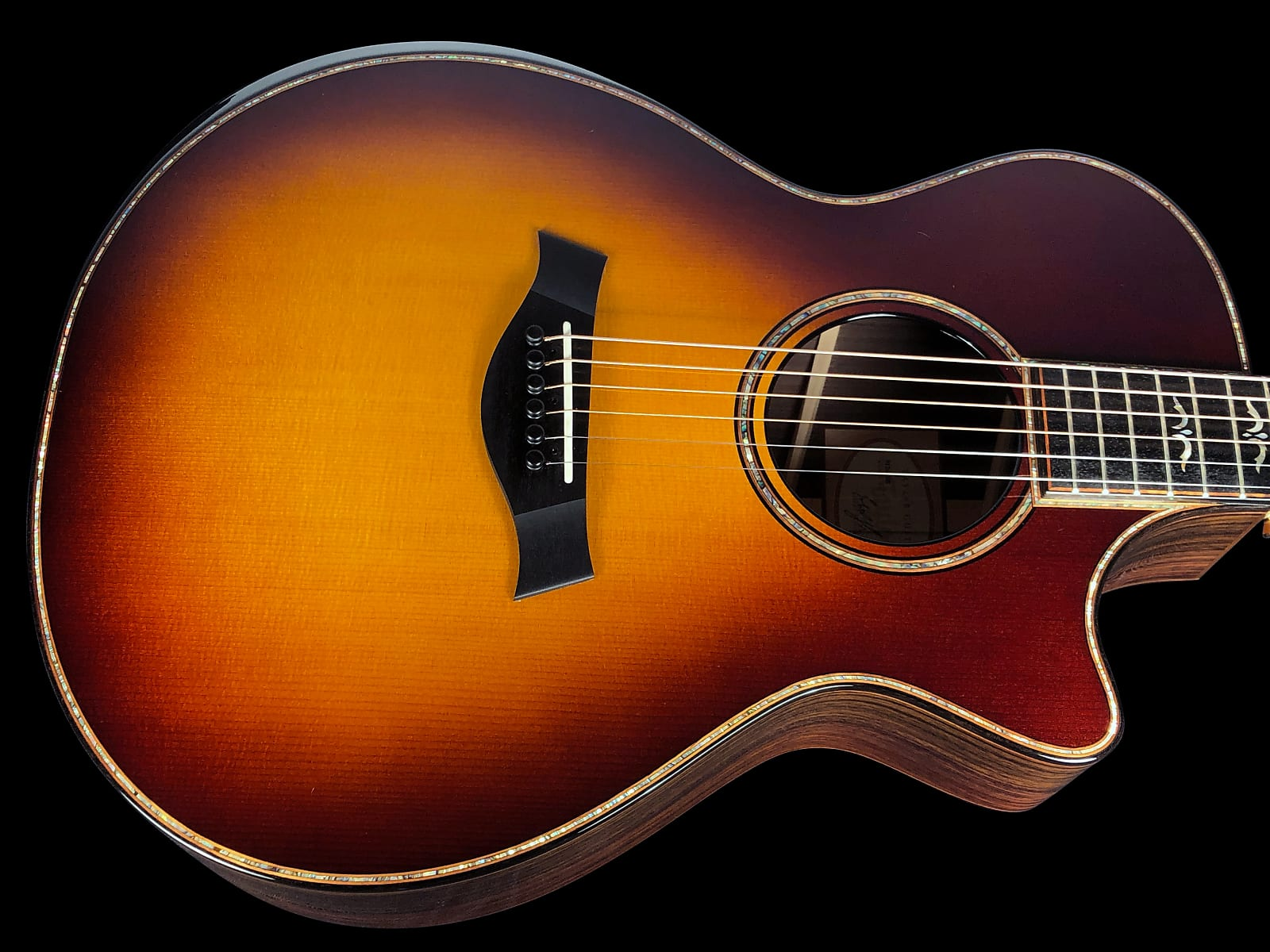2017 Taylor 912CE Grand Concert 912-CE w Beveled Ebony Arm-rest, Cut-away & Expression II ~ Sunburst