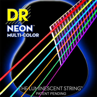 DR Strings NMCA-11 Neon Hi-Def Multicolor Medium Light 11-50 Acoustic Guitar Strings for sale