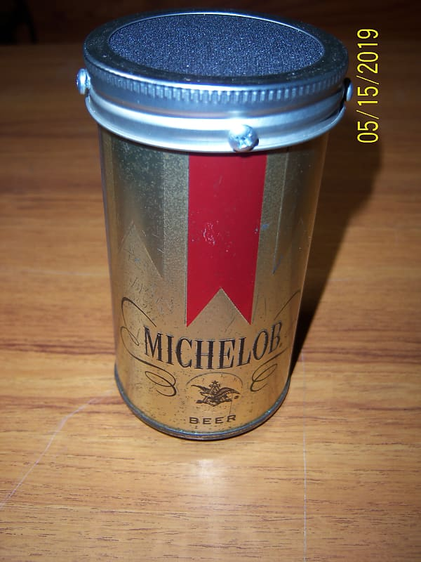 Circuit bent lofi Michelob beer can vocal microphone-harmonica microphone