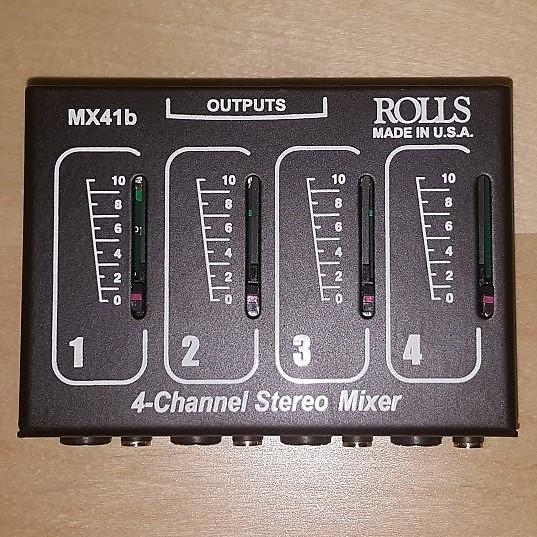Rolls MX41B Stereo 4 Channel 1/4 & 1/8 Mixer Pass