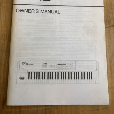 Roland XP-10 Multi-Timbral Synthesizer Owner's Manual
