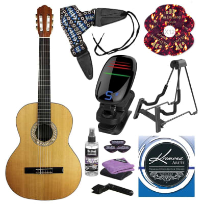 Kremona S65C Soloist Series Nylon String Guitar and Deluxe Guitar Accessory Bundle for sale