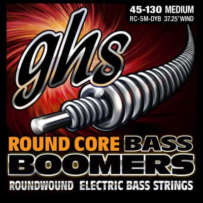 GHS RC-5M-DYB 5-String Bass Round Core Nickel Plated Boomers Med 45-130 Strings