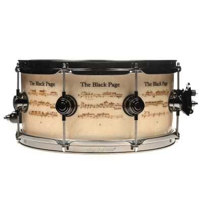 """DW DREX6514SSN-FZ Collector's Series 6.5x14"""" """"The Black Page"""" Terry Bozzio Signature Icon Snare Drum"""