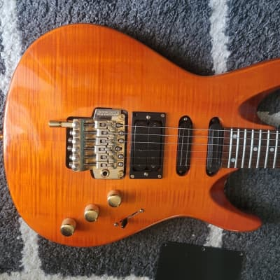 1994 Samick Valley Arts Custom Pro HSS super strat Floyd rose Amber flame top EVH  D-tuna and gigbag for sale