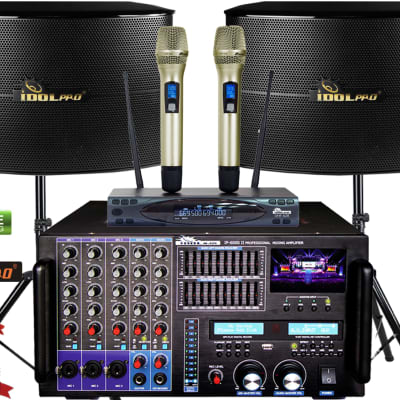 "IDOLpro 8000W Mixing Amplifier W/ Bluetooth& Vocal 12"" Speakers&Dual High-Tech Wireless Microphones"