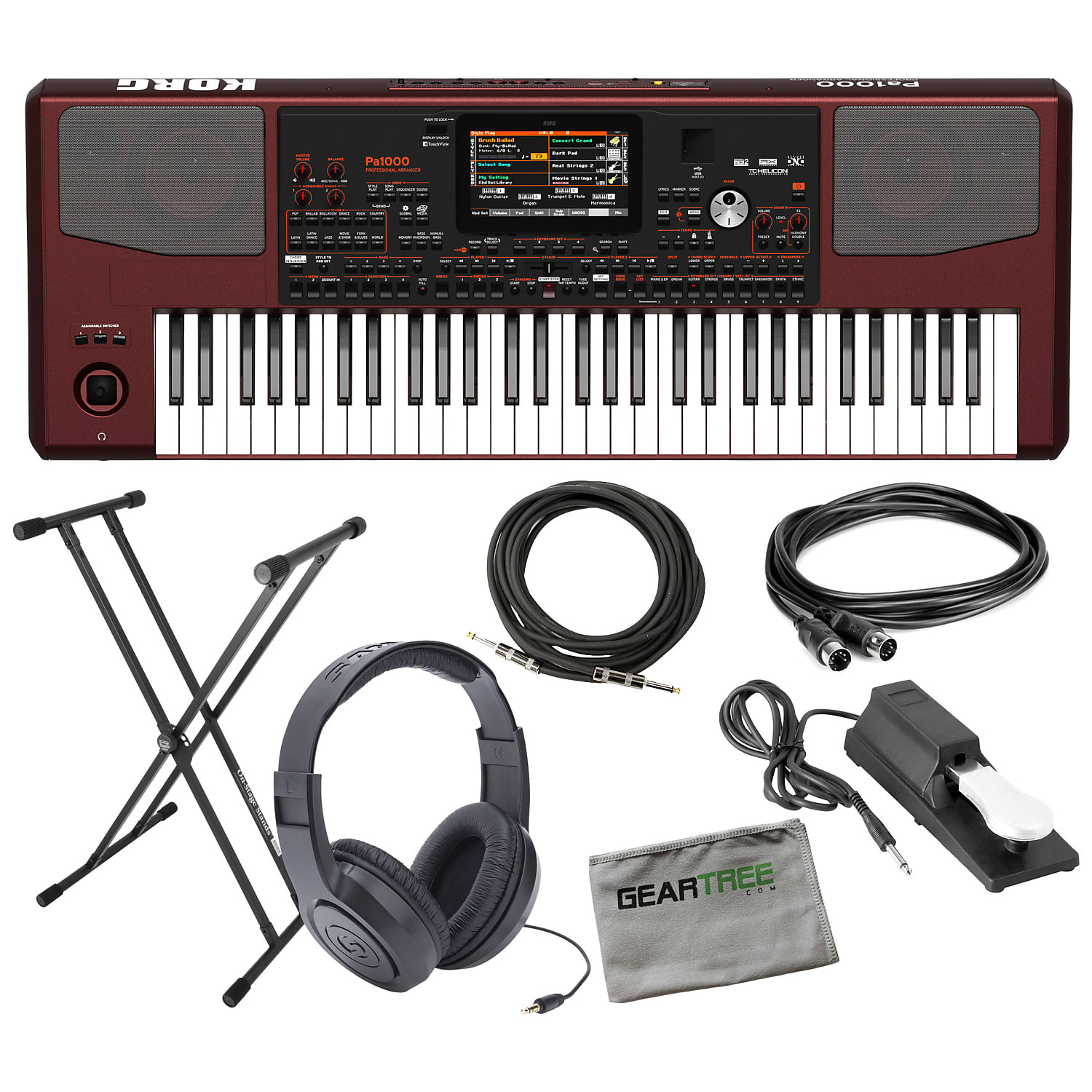 Sustain Pedal /& Studio Headphones 5 items Korg PA1000 Professional Arranger Keyboard bundle with Knox Bench Stand