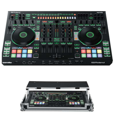 Roland DJ-808 4-Channel DJ Controller for Serato DJ +ProX Roland DJ-808 / Denon DJ MC7000 ATA Case with Laptop Shelf & Wheels [XS-DJ808WLT]