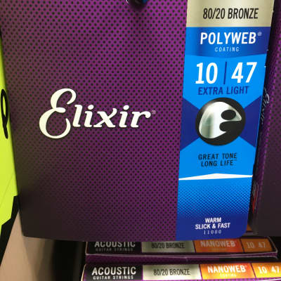 Elixir 11000 Polyweb 80/20 Bronze Acoustic Guitar Strings - Extra Light (10-47)