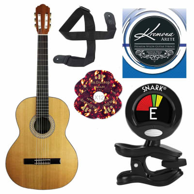 Kremona S65C Soloist Series Nylon String Guitar and Basic Guitar Accessory Bundle for sale