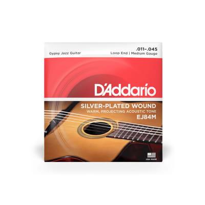 D'Addario EJ84M Medium Gauge Silverplated Wound Loop End Gypsy Jazz Guitar Strings 11-45