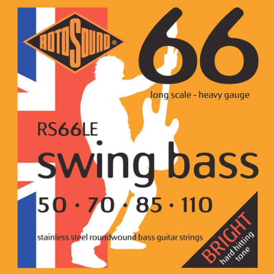Rotosound RS66LE Swing Bass 66 Stainless Steel Bass Guitar Strings 50-110