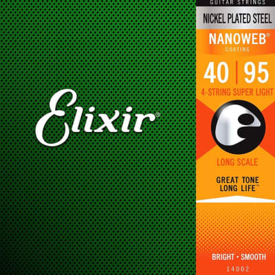 Elixir Nickel Plated Steel 4-String Bass Strings, Long Scale, Super Light, 40-95 FIVE sets