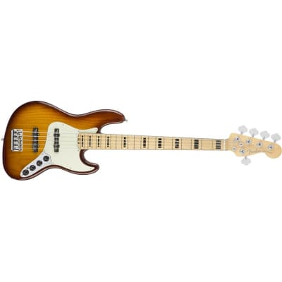 Fender American Elite Jazz Bass V Ash, Maple, Tobacco Sunburst for sale