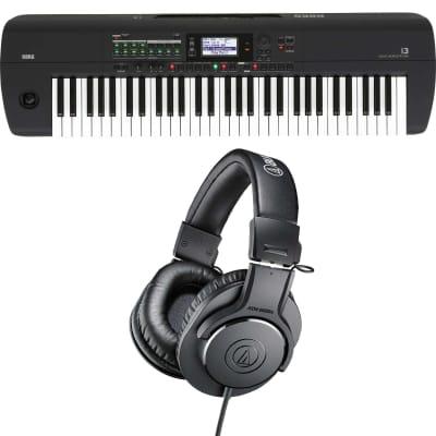 Korg i3 Arranger Keyboard (Matte Black), AudioTechnica ATH-M20X Bundle