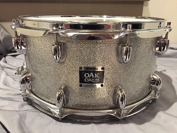 yamaha oak custom silver sparkle snare drum 14x7 reverb. Black Bedroom Furniture Sets. Home Design Ideas