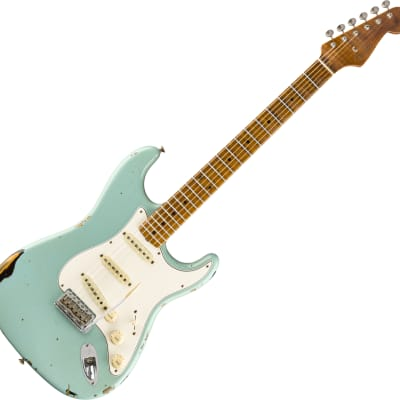 Fender Custom Shop Roasted Tomatillo Strat Ltd - Relic Aged Daphne Blue ov. 2-Color Sunburst for sale