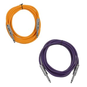 """Seismic Audio SASTSX-10-ORANGEPURPLE 1/4"""" TS Male to 1/4"""" TS Male Patch Cables - 10' (2-Pack)"""