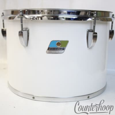 """*Ludwig 13x9""""White Cortex Concert Tom Drum Vintage 80s Blue/Olive 6Ply Maple USA"""