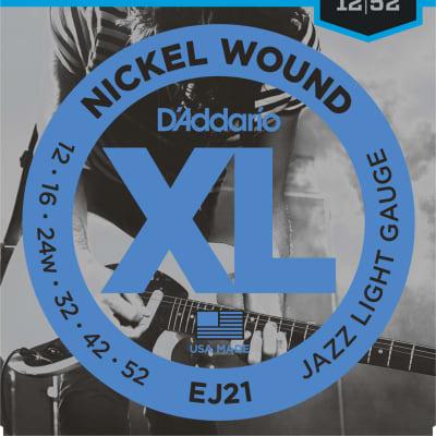 D'Addario Electric Guitar String Set Nickel Wound, Jazz Light Gauge, 12-52