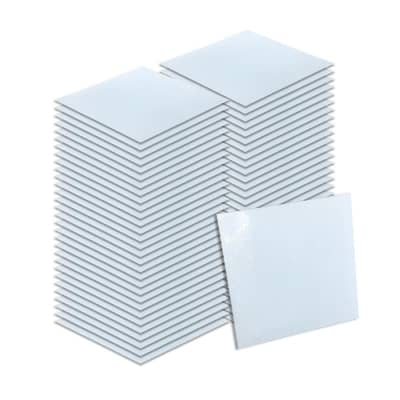 Arrowzoom 64 pieces 11 x 11 x 0.05 inches K- White Marble Design Self Adhesive Floor PVC Vinyl Tile