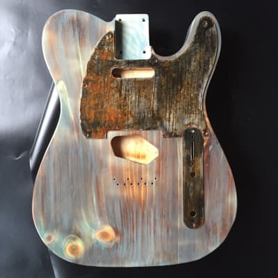 Rusted Relic Tele body 2 piece  burnt pine shou sugi ban style with  steel pickguard. Free shipping for sale