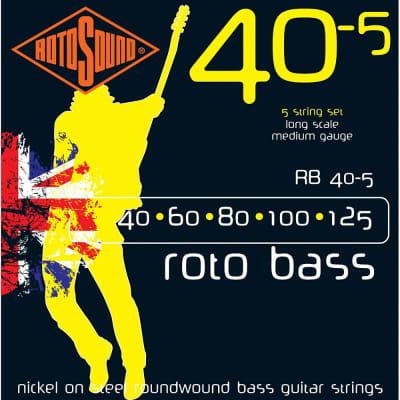 Rotosound RB40-5 Rotobass Long Scale Medium 5-String Bass Guitar Strings 40-125
