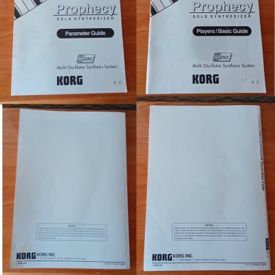 Korg Prophecy - 2 Original manuals + 2 Eprom version 2.0