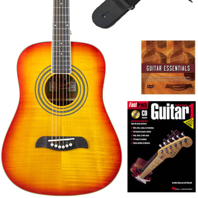 Oscar Schmidt OG5 3/4-Size Kids Acoustic Guitar - Flame Yellow Sunburst Learn-to-Play Bundle with Tuner, Strap, Picks, Instructional Book, DVD, and Austin Bazaar Polishing Cloth for sale