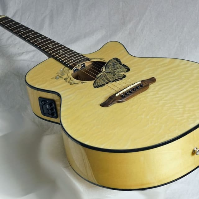 Beautiful Quilt Spruce Top Luna Buttterfly Inlaid Koa Awesome looks Great Sound image