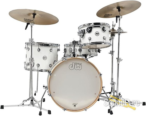 dw 4pc design series frequent flyer drum set kit gloss white reverb. Black Bedroom Furniture Sets. Home Design Ideas