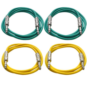 "Seismic Audio SATRX-2-2GREEN2YELLOW 1/4"" TRS Patch Cables - 2' (4-Pack)"
