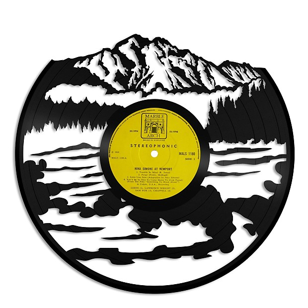 Mountains with water Vinyl Wall Art - Gold / No frame | Reverb