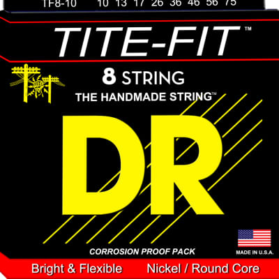 DR Strings TF8-10 Tite-Fit 8-String Electric Strings - Medium, 10-75 for sale