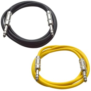 "Seismic Audio SATRX-6-BLACKYELLOW 1/4"" TRS Patch Cables - 6' (2-Pack)"