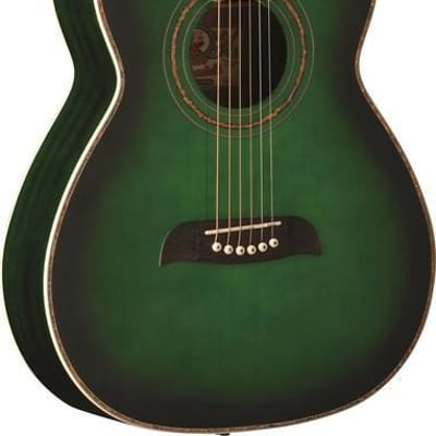Oscar Schmidt Folk Style Acoustic Guitar, Select Spruce Top, Trans Green, OF2TGR for sale