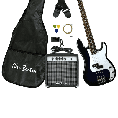 Glen Burton GB150BCO-BLS Solid Body Electric Bass Guitar Combo w/Gig Bag,  Amplifier, Strings &Tuner