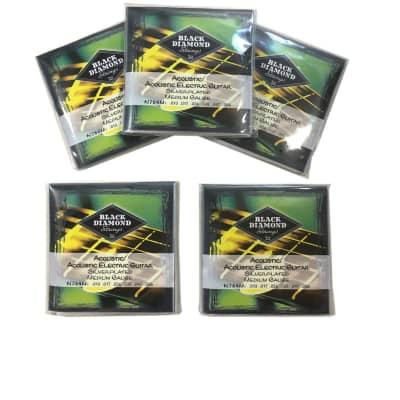 Black Diamond Guitar Strings 5-Packs Acoustic Medium Silver Plated N754M 13-56
