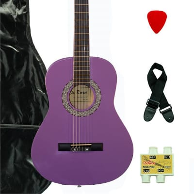 De Rosa DKF36-LPL Kids Classical Guitar Outfit  Purple w/Gig Bag, Strings, Pick, Pitch Pipe & Strap for sale