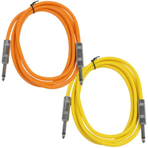 "Seismic Audio SASTSX-6-ORANGEYELLOW 1/4"" TS Male to 1/4"" TS Male Patch Cables - 6' (2-Pack)"