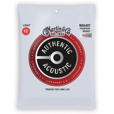 Martin Strings Phosphor Bronze Treated Acoustic Guitar Strings 12-54 MA540T for sale