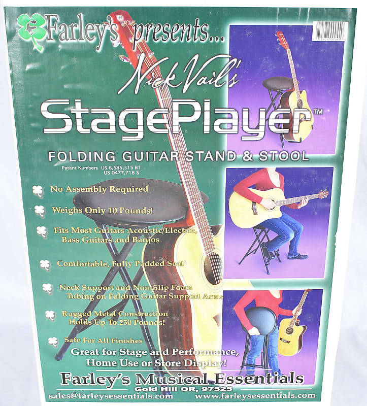 Incredible Farleys Nick Vails Stage Player Folding Guitar Stand And Stool Seat Squirreltailoven Fun Painted Chair Ideas Images Squirreltailovenorg