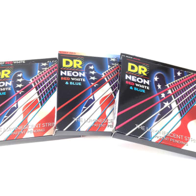 DR Strings Guitar Strings 3 Pack Electric Neon Red White Blue 11-50 Heavy image