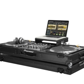"Odyssey FZGSLBM12WBL Flight Zone Black Label Glide Style DJ Coffin Battle Case for 12"" Mixer and 2 Turntables"