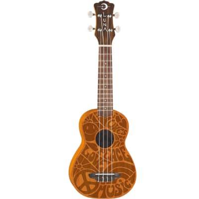 Luna Guitars Peace Love Acoustic Ukulele - Soprano
