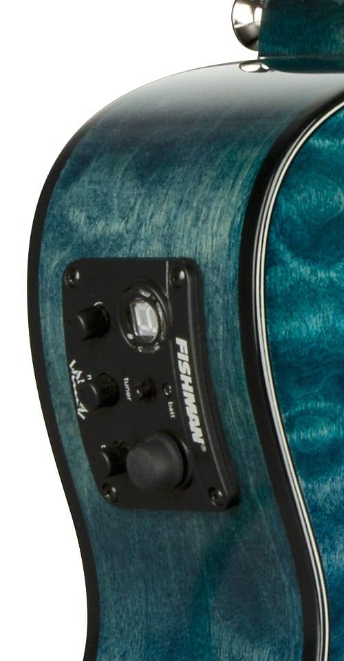 Lanikai QM-BLCEC Quilted Maple Blue Cutaway Electric Concert Ukulele w/ Gig Bag